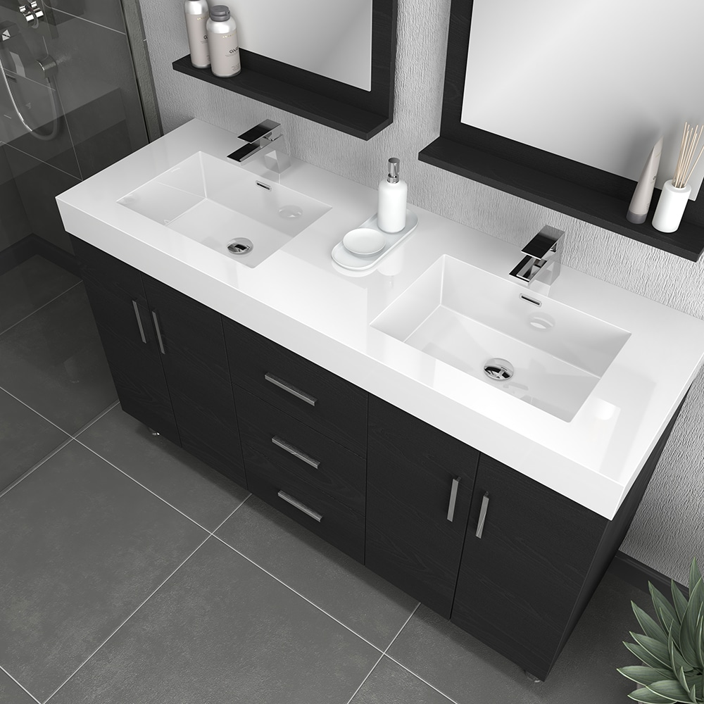 Alya Bath Ripley 56 Inch Double Modern, 56 Inch Bathroom Vanity